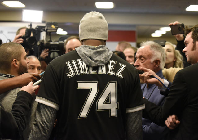 Chicago White Sox's Eloy Jimenez answers questions during the baseball team's convention Friday, Jan. 25, 2019, in Chicago. (AP Photo/David Banks)