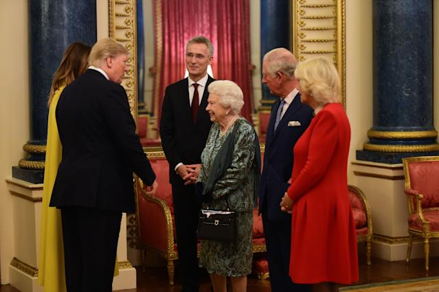 The Queen with Trump at the Nato reception. (Getty Images)