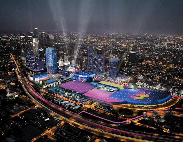 <p>A rendering of an aerial view of Downtown Sports Park. (Photo: Courtesy LA 2024) </p>