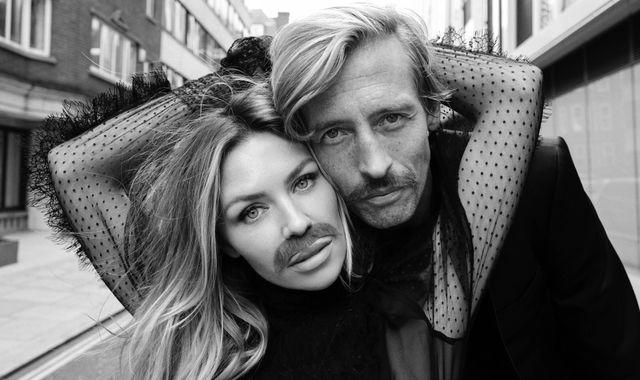 Peter Crouch, Abbey Clancy and Sir Mo Farah pose with moustaches for Movember