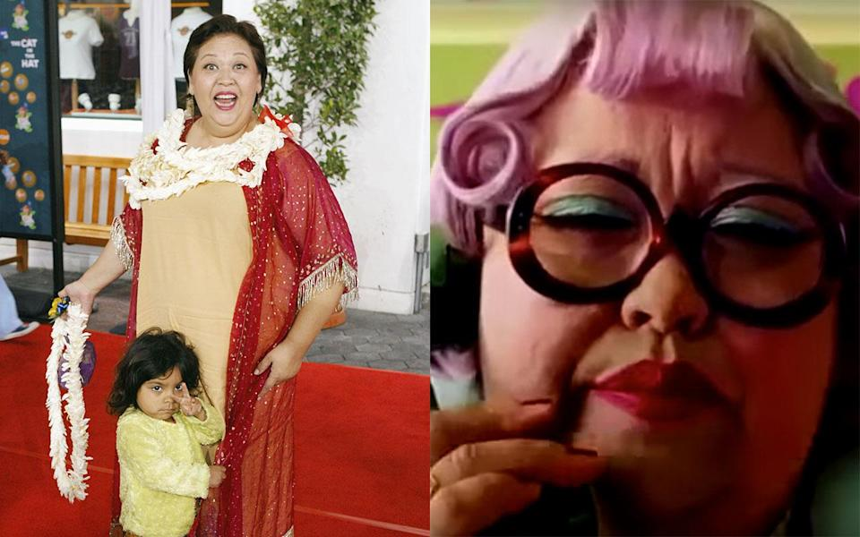 Amy Hill with her daughter at the film's premiere and in the movie as Mrs. Kwan - Credit: Getty Images/Universal Pictures