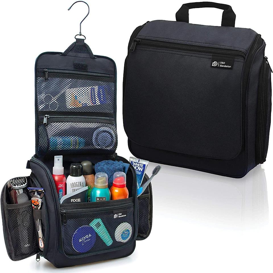 """<p><strong>Talley & Twine</strong></p><p><strong>$29.97</strong></p><p><a href=""""https://www.amazon.com/Hanging-Toiletry-Bag-Men-Women/dp/B07JMD9XFJ/?tag=syn-yahoo-20&ascsubtag=%5Bartid%7C10050.g.23496922%5Bsrc%7Cyahoo-us"""" rel=""""nofollow noopener"""" target=""""_blank"""" data-ylk=""""slk:Shop Now"""" class=""""link rapid-noclick-resp"""">Shop Now</a></p><p>A handy, hanging dopp kit is just the thing to keep his essentials all in one place. Multiple compartments keep things organized.</p>"""