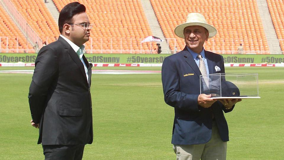 Jay Shah BCCI Secretary with Sunil Gavaskar celebrating his 50 years of Test debut during the Day 3 of the fourth PayTM Test match between India and England held at the Gujarat's Narendra Modi Stadium on the 6 March 2021.