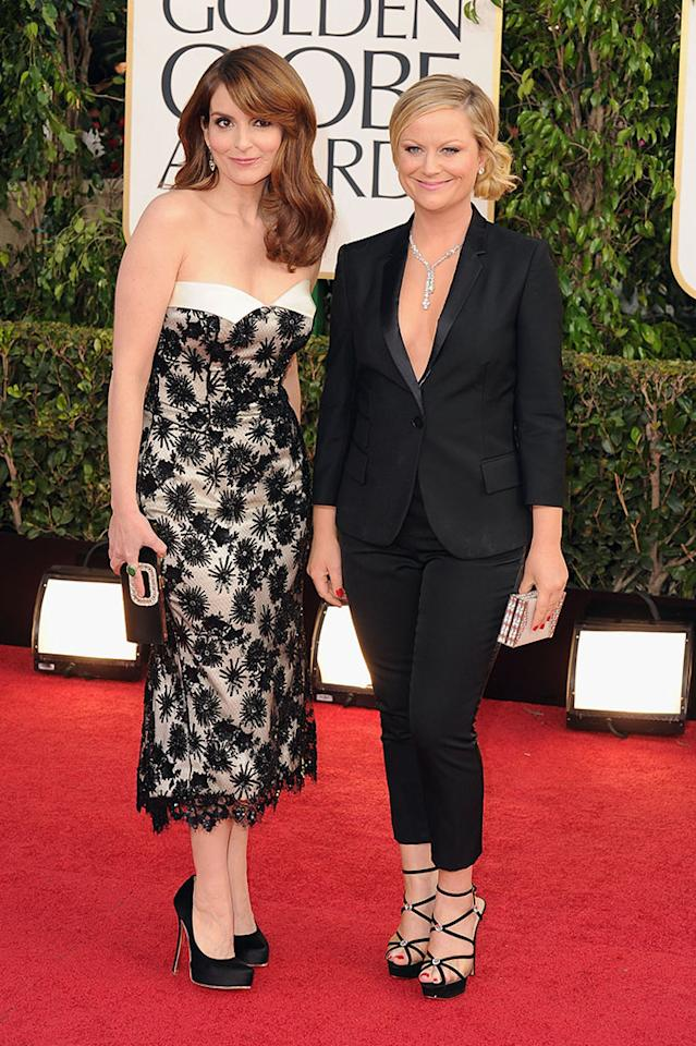 Co-hosts Tina Fey and Amy Poehler arrive at the 70th Annual Golden Globe Awards held at The Beverly Hilton Hotel on January 13, 2013 in Beverly Hills, California.