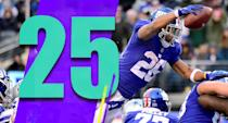 <p>Saquon Barkley's 2,028 yards from scrimmage led the NFL. He was the only consistent part of a terrible offense. (Saquon Barkley) </p>