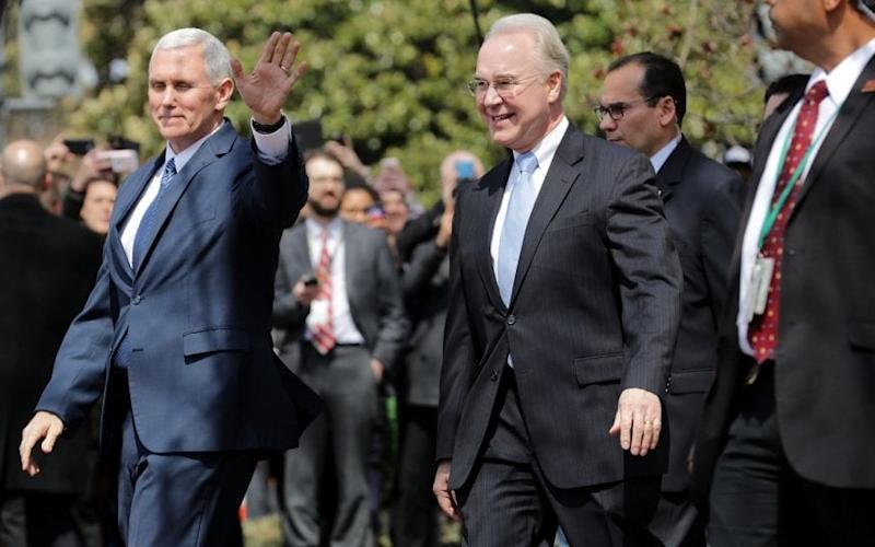 Vice President Mike Pence and Health and Human Services Secretary Tom Price leave the Capitol Hill Club on Capitol Hill March 24, 2017 - Credit: Getty