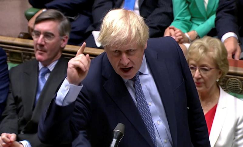 Britain's Prime Minister Boris Johnson gestures as he speaks at the parliament, which reconvenes after the UK Supreme Court ruled that his suspension of the parliament was unlawful, in London, Britain, September 25, 2019, in this screen grab taken from video. Parliament TV via REUTERS