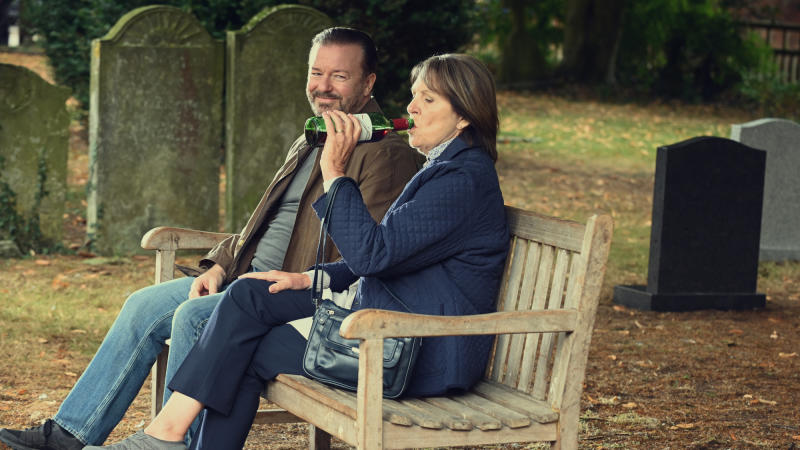 Ricky Gervais and Penelope Wilton in Netflix series 'After Life'. (Credit: Ray Burmiston/Netflix)