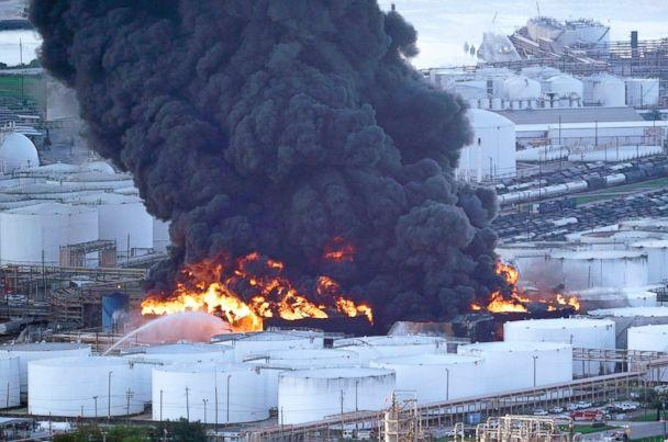 PHOTO: Firefighters battle a petrochemical fire at the Intercontinental Terminals Company, March 18, 2019, in Deer Park, Texas. (David J. Phillip/AP)