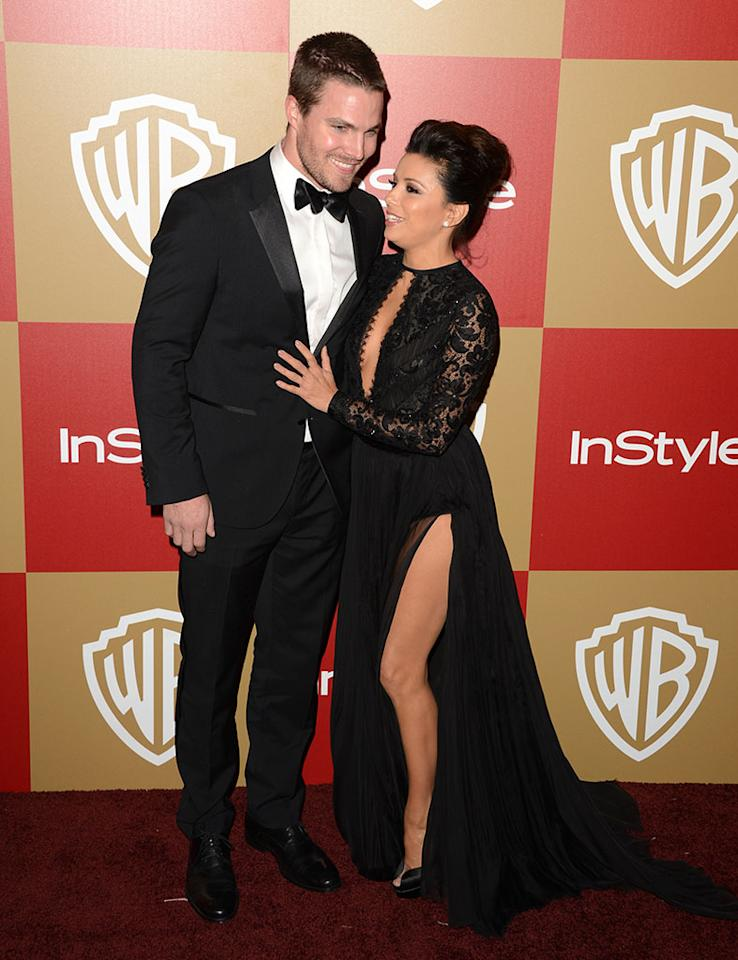 Stephen Amell and Eva Longoria attend the 14th Annual Warner Bros. And InStyle Golden Globe Awards After Party held at the Oasis Courtyard at the Beverly Hilton Hotel on January 13, 2013 in Beverly Hills, California.