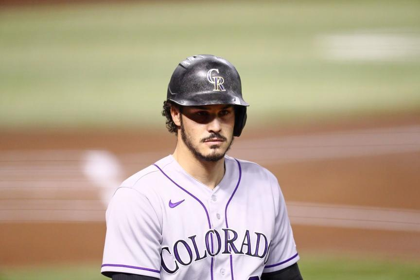 Nolan Arenado near on deck circle with helmet on from chest up
