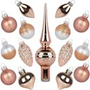 <p>Deck out a tabletop Christmas tree with this set of <span>KINGYEE Miniature Ornaments and Tree Topper</span> ($15). </p>