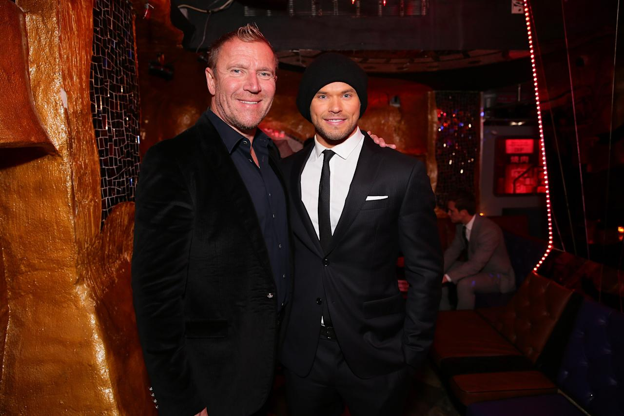 "NEW YORK, NY - JANUARY 06: Director Renny Harlin (L) and actor Kellen Lutz attend ""The Legend Of Hercules"" premiere after party at MasionO on January 6, 2014 in New York City. (Photo by Neilson Barnard/Getty Images)"