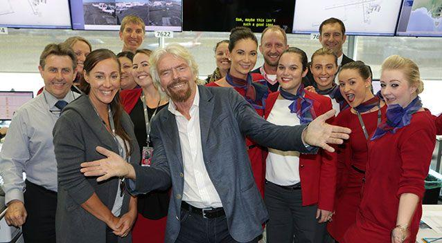 """""""There were certainly smiles, and laughter, all round at Virgin Australia,"""" Richard said in his blog. Source: Virgin Australia."""