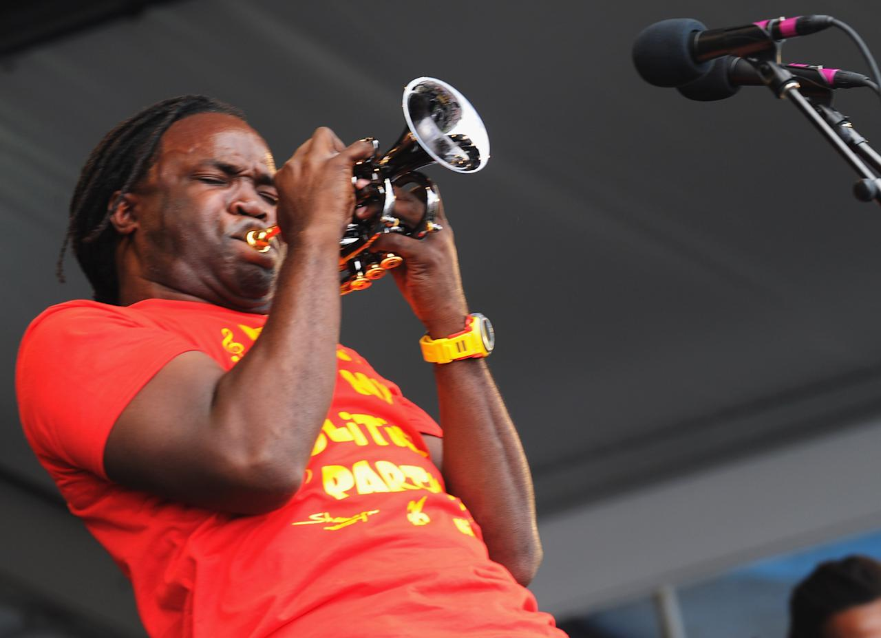 NEW ORLEANS, LA - APRIL 28:  Shamarr Allen & the Underdawgs perform during the 2012 New Orleans Jazz & Heritage Festival Day 2 at the Fair Grounds Race Course on April 28, 2012 in New Orleans, Louisiana.  (Photo by Rick Diamond/Getty Images)