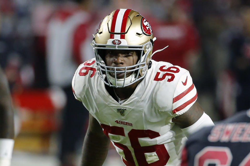 San Francisco 49ers linebacker Kwon Alexander is reportedly on the move to the Saints. (AP Photo/Rick Scuteri, File)