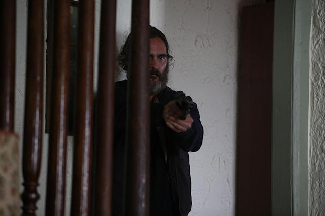 "Phoenix says he researched ""toxic stress and repeated abuse"" and how they affect the brain to explore his character, Joe, in <em>You Were Never Really Here</em>. (Photo: Amazon Studios)"