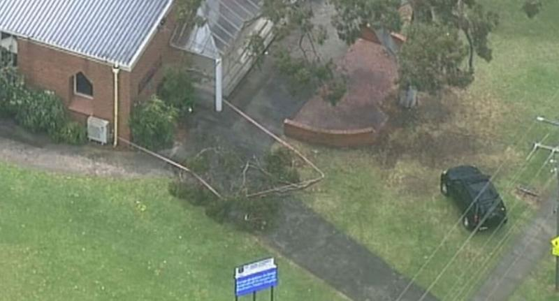 Melbourne church from above after tree branch falls on three girls.