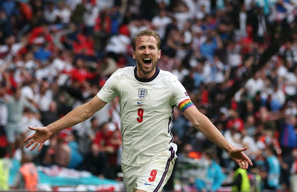 Harry Kane (pictued) celebrates after scoring their side's second goal during the UEFA Euro 2020 Championship Round of 16 match between England and Germany at Wembley Stadium