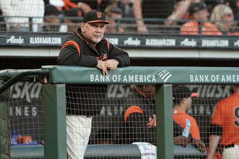 Jul 19, 2019; San Francisco, CA, USA; San Francisco Giants manager Bruce Bochy (15) in the game against the New York Mets during the third inning at Oracle Park. Mandatory Credit: Stan Szeto-USA TODAY Sports