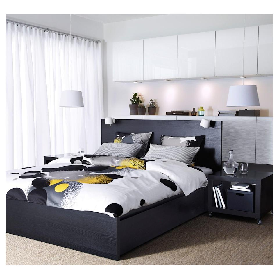 <p>The <span>Malm High Bed Frame </span> ($274) can hold all of your extra trinkets, while remaining stylish with its modern design.</p>