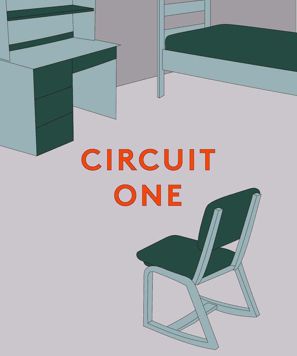 <strong><h2>Circuit 1 Overview</h2>You'll Need: </strong>A stool or desk chair; a laundry soap jug (optional)<br><br><strong>Movements (swipe through for longer descriptions): </strong><br>10 squats<br>10 step ups<br>10 reverse lunges<br>10 burpees<br><br><strong>Repeat:</strong> 3x<br><br>