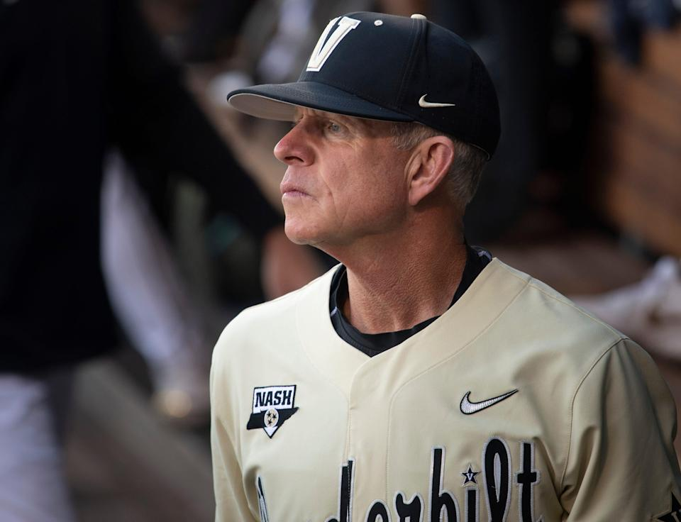 Vanderbilt head coach Tim Corbin looks out of the dugout before their game against NC State in the NCAA Men's College World Series at TD Ameritrade Park Monday, June 21, 2021 in Omaha, Neb.