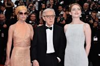 <p>Marking her second collaboration with Woody Allen, <em>Irrational Man</em> plays at the 68th Annual Cannes Film Festival on May 15, 2015. Allen, Stone, and co-star Parker Posey, left, make the scene on the Croisette. (Photo: George Pimentel/WireImage) </p>