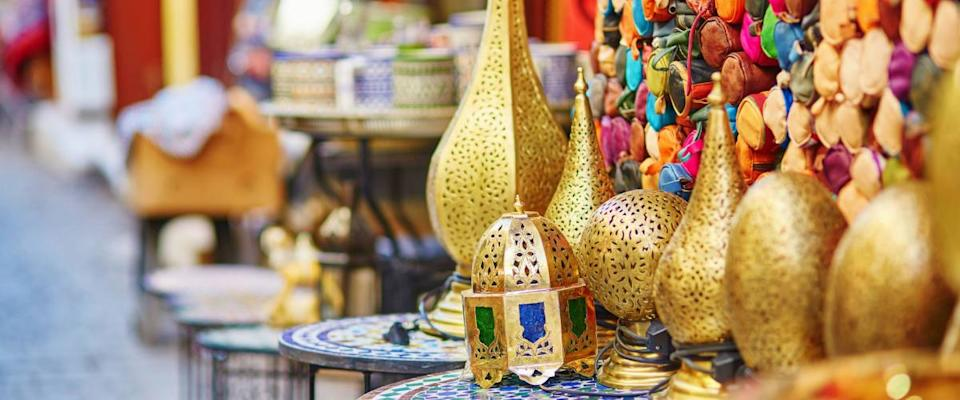 Traditional lamps on Moroccan market