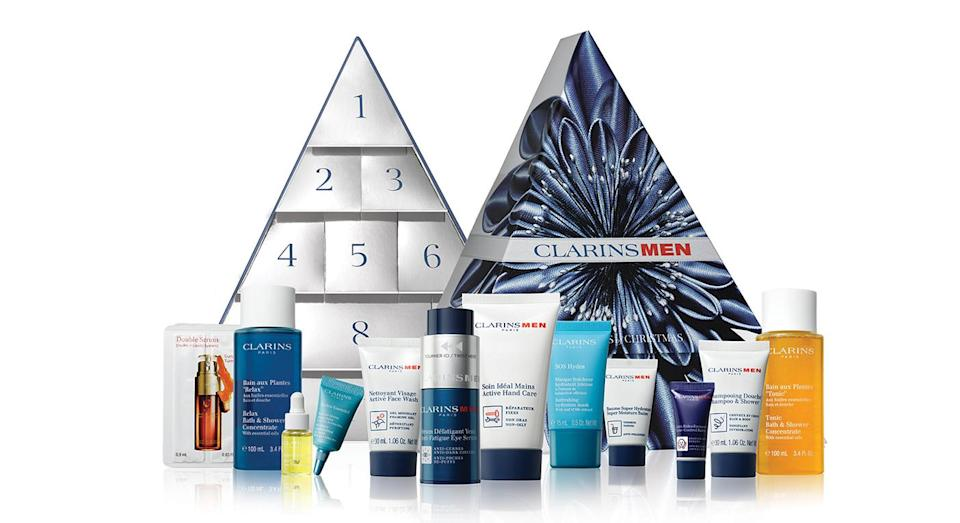 """<p>Clarins' must-have advent calendar for men includes 12 hair and beauty products suitable for all. The Christmas set contains everything from an anti-fatigue eye serum to face wash. Now available <a href=""""https://www.debenhams.com/webapp/wcs/stores/servlet/prod_10701_10001_163175001799?brand=Clarins&cat1=Gifts&cat2=Advent-calendars&CMP=SSH_6890450472_1341032141_51870853377&gclid=Cj0KCQjwjbveBRDVARIsAKxH7vnyHTrCkYWVu7w-enQzTLf1x0VnXRD38TJ9lyCMT8ZiECMtsNIiEL8aArp6EALw_wcB&gclsrc=aw.ds"""" rel=""""nofollow noopener"""" target=""""_blank"""" data-ylk=""""slk:online"""" class=""""link rapid-noclick-resp"""">online</a>. </p>"""