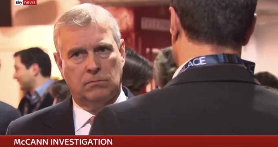Video of Prince Andrew was broadcast with a strap reading 'McCann investigation'. Source: Sky News