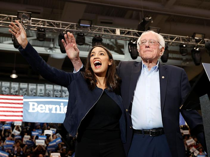 To the left: Alexandria Ocasio-Cortez and Bernie SandersREUTERS