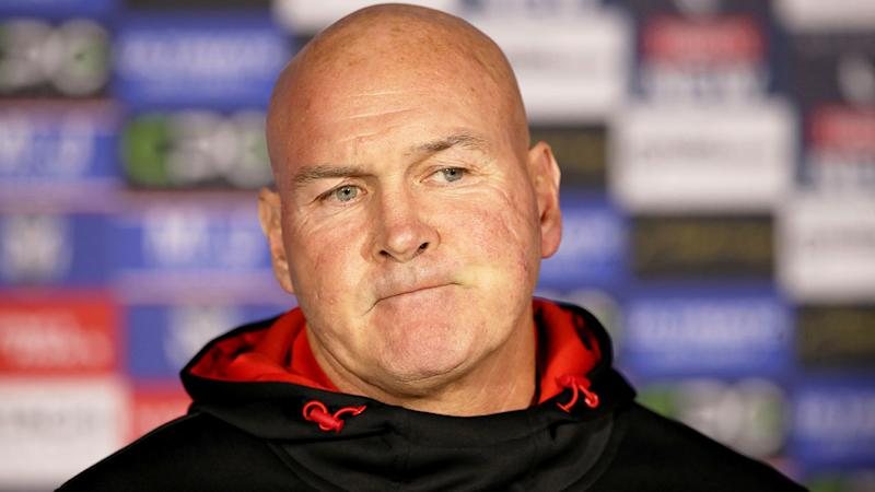 Pictured here, Dragons coach Paul McGregor during a post-match press conference.