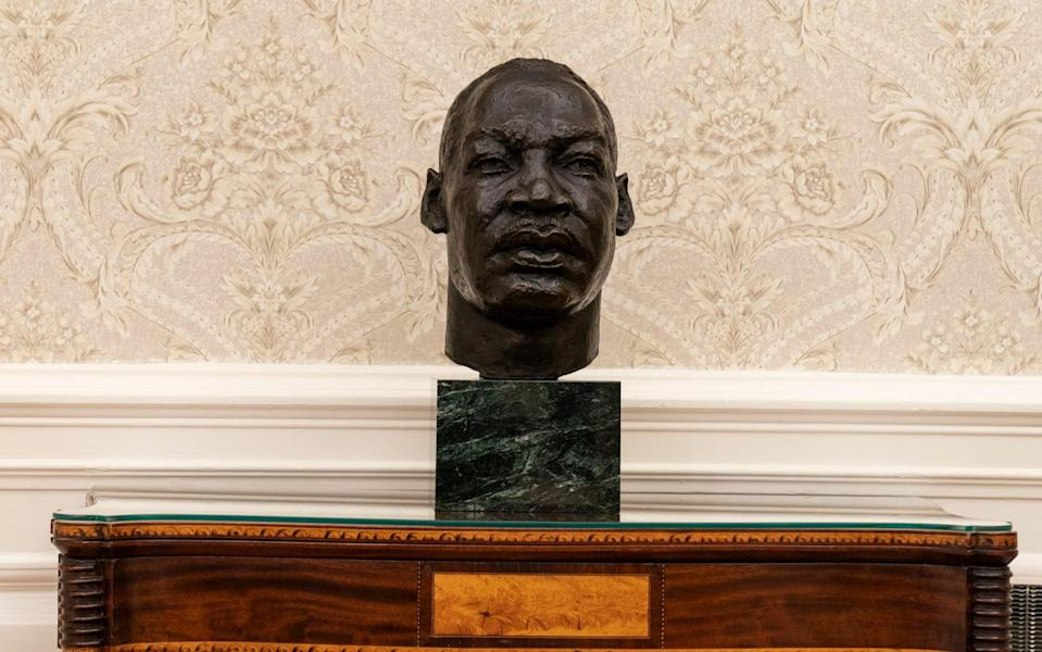 A bust of Rev Martin Luther King in the Oval Office - Alex Brandon/AP