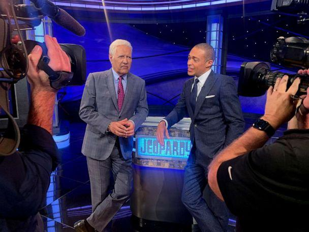 PHOTO: ABC News' T.J. Holmes interviews Alex Trebek on the set of 'Jeopardy! The Greatest of All Time.' (ABC News)