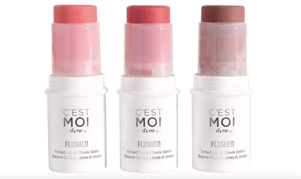 <p>Give your complexion the glow from within look with the moisturizing <span>C'est Moi Flushed Tinted Lip &amp; Cheek Balm</span> ($12).</p>