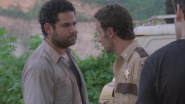Juan Gabriel Pareja as Morales and Andrew Lincoln as Rick Grimes in 'The Walking Dead' Season 1 (Photo: AMC)