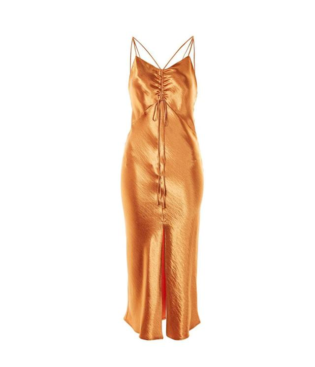 "<p>Ruched midi slipdress, $75,<a href=""http://us.topshop.com/en/tsus/product/ruched-midi-slip-dress-6397217?bi=20&ps=20"" rel=""nofollow noopener"" target=""_blank"" data-ylk=""slk:topshop.com"" class=""link rapid-noclick-resp""> topshop.com</a> </p>"