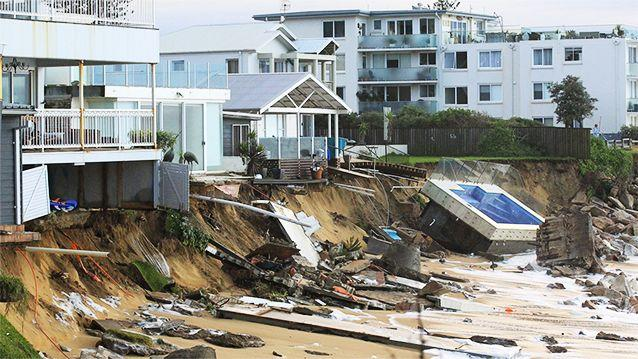 What's left of beachfront homes on Collaroy's coast. Photo: 7News