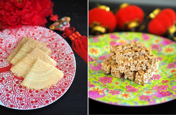 Celebrate the season with fragrant, delicate 'kuih kapit' from the Lim family stall in Bangsar (left). Located at the Lucky Garden morning market, the Lim family stall also sells these slightly savoury, crunchy peanut candy bars (right) — Pictures by Lee Khang Yi