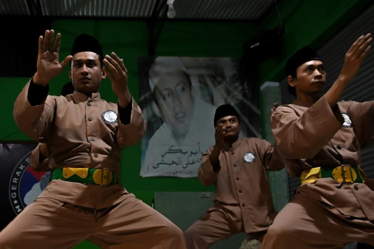 Pencak silat practitioners go through their paces in the Indonesian capital, Jakarta