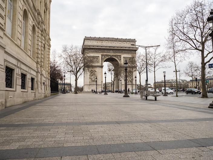 The Arc de Triomphe on the Champs Elysees in France.