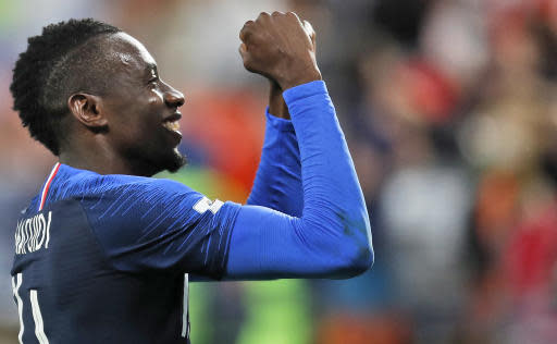 France's Blaise Matuidi celebrates at the end of the group C match between France and Peru at the 2018 soccer World Cup in the Yekaterinburg Arena in Yekaterinburg, Russia, Thursday, June 21, 2018. France won 1-0. (AP Photo/Natacha Pisarenko)
