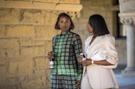 <p>Issa shows off a coordinated plaid set, while Molly stays true to character in a neutral suit - with a Bottega Veneta clutch in tow. </p>
