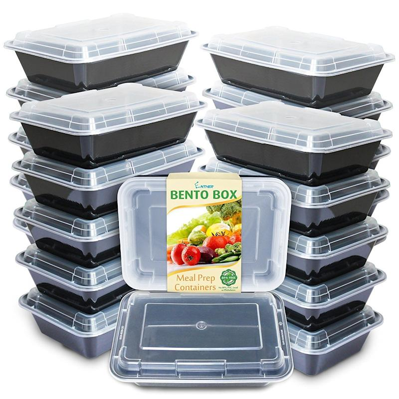 """<a href=""""https://www.amazon.com/Enther-Containers-Compartment-Stackable-Dishwasher/dp/B0742M47V5/ref=sr_1_28_sspa?s=home-garden&ie=UTF8&qid=1510250866&sr=1-28-spons&keywords=tupperware+set&psc=1"""" target=""""_blank"""">$16</a>, Amazon."""