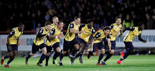 Soccer Football - National League Play-Off Eliminator - Aldershot Town v Ebbsfleet United - EBB Stadium, Aldershot, Britain - May 2, 2018 Ebbsfleet United celebrate victory in the penalty shoot out Action Images/Peter Cziborra
