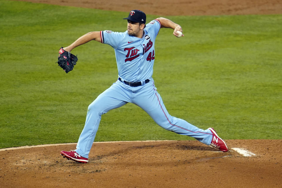 Minnesota Twins starting pitcher Lewis Thorpe throws to the Los Angeles Angels during the third inning of a baseball game Friday, April 16, 2021, in Anaheim, Calif. (AP Photo/Marcio Jose Sanchez)