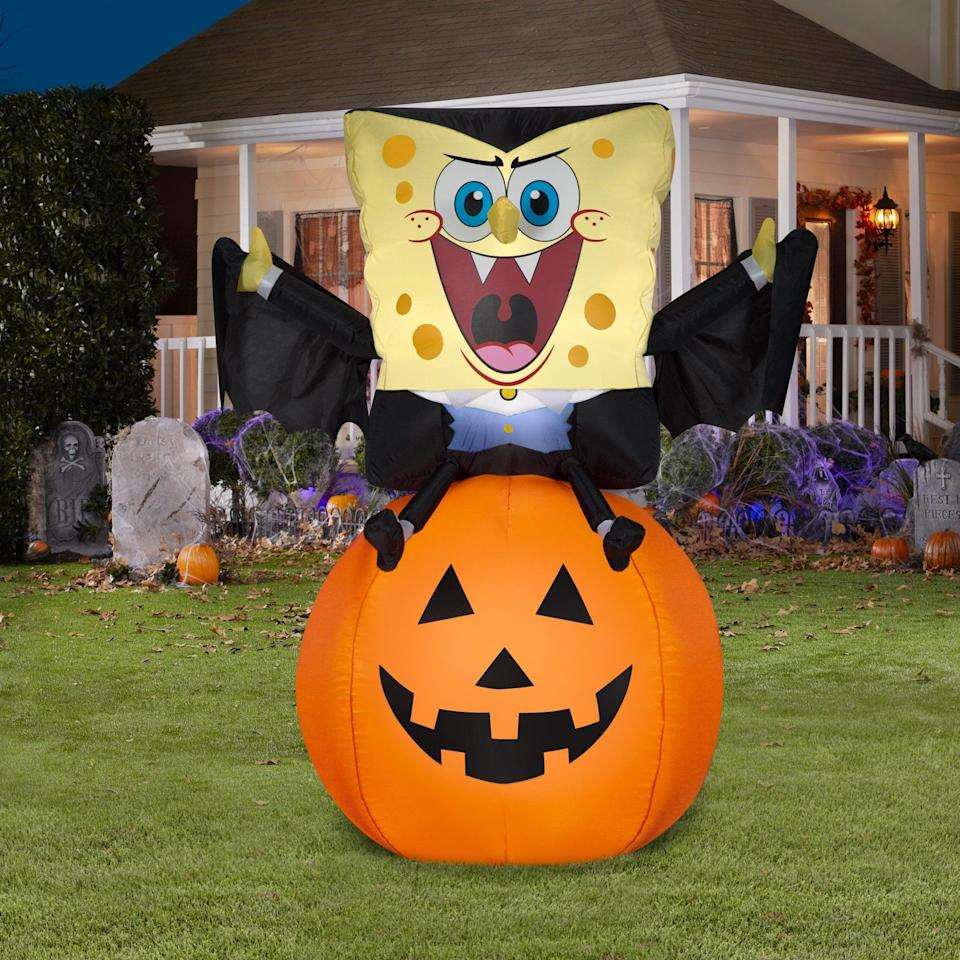 """<p>If you love <a class=""""link rapid-noclick-resp"""" href=""""https://www.popsugar.com/Halloween"""" rel=""""nofollow noopener"""" target=""""_blank"""" data-ylk=""""slk:Halloween"""">Halloween</a> as much as you love <strong>SpongeBob SquarePants</strong>, you need to get the <span>Airblown Inflatables Vampire SpongeBob on a Pumpkin</span> ($39), like, yesterday! The four-foot inflatable is such a great find and perfect for Instagram-worthy photo shoots.</p>"""