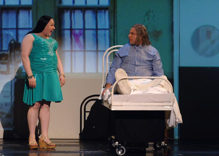 David Walliams (right) and Matt Lucas in a special Comic Relief performance of the Little Britain stage show at the Hammersmith Apollo in west London.