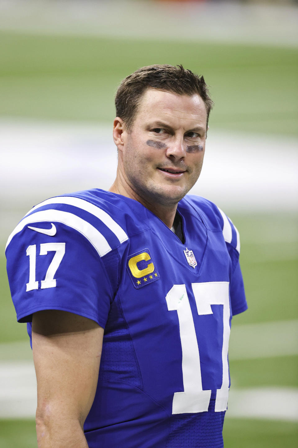Indianapolis Colts quarterback Philip Rivers (17) prepares for the game in an NFL game against the Green Bay Packers, Sunday, Nov. 22, 2020 in Indianapolis. The Colts defeated the Packers 34-31. (Margaret Bowles via AP)